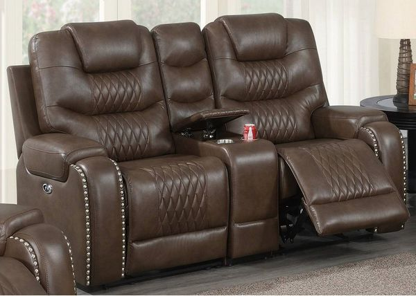 Davena Brown Gel Leatherette Power Recliner Loveseat by Poundex