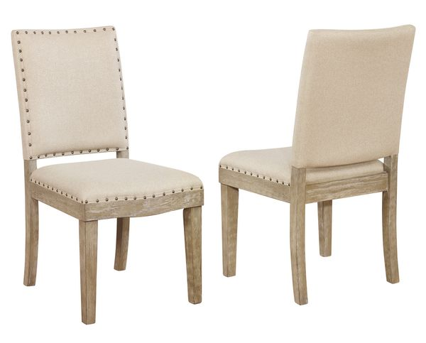 Delilah 2 Light Beige Fabric Side Chairs by Best Quality Furniture