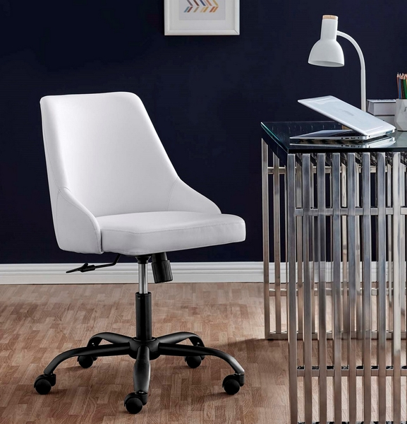 Designate White Vegan Leather Office Chair by Modway