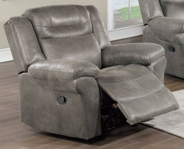 Dina Slate Gray Breathable Leatherette Power Recliner by Poundex