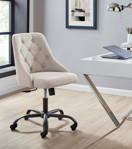 Distinct Beige Fabric Button Tufted Office Chair by Modway