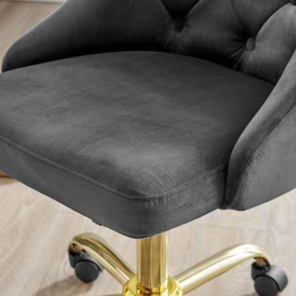Distinct Gray Performance Velvet Button Tufted Office Chair by Modway