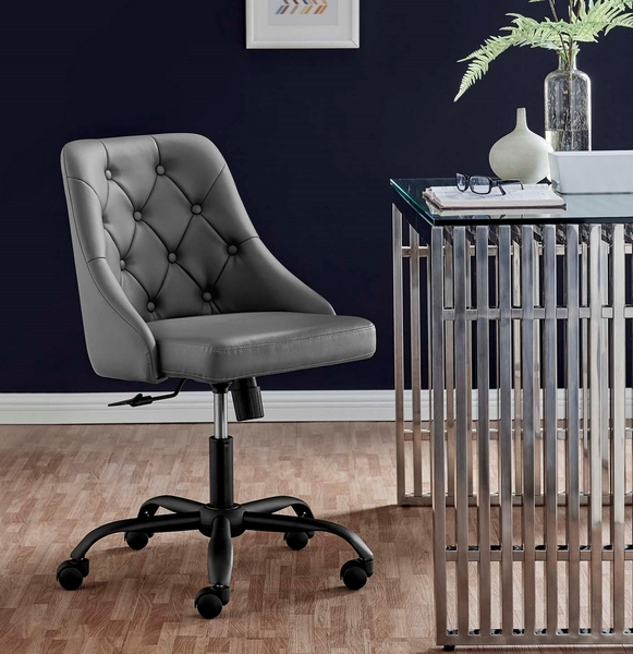 Distinct Gray Vegan Leather Button Tufted Office Chair by Modway