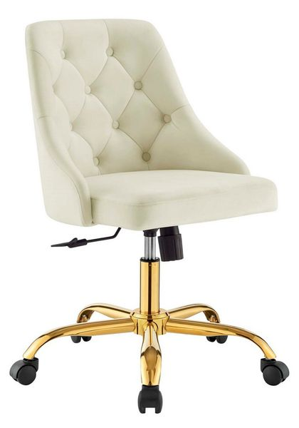 Distinct Ivory Performance Velvet Button Tufted Office Chair by Modway