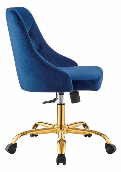 Distinct Navy Performance Velvet Button Tufted Office Chair by Modway