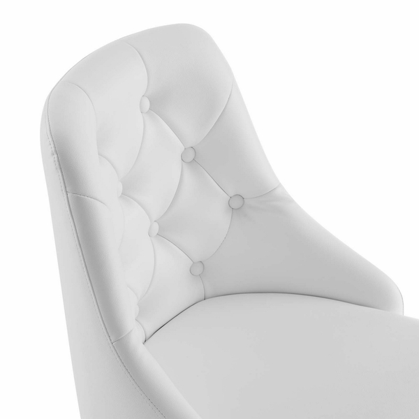 Distinct White Vegan Leather Button Tufted Office Chair by Modway