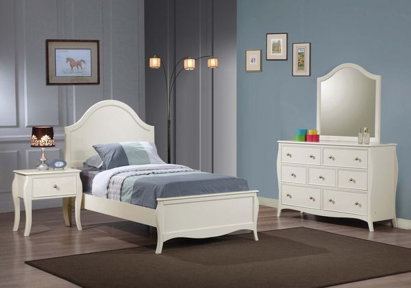 Dominique 4-Pc White Wood Twin Panel Bedroom Set by Coaster