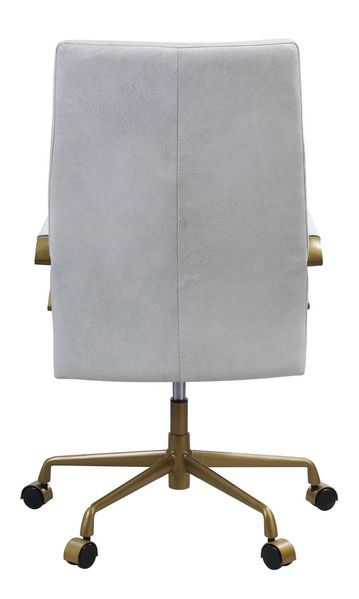 Duralo Vintage White Top Grain Leather Office Chair by Acme