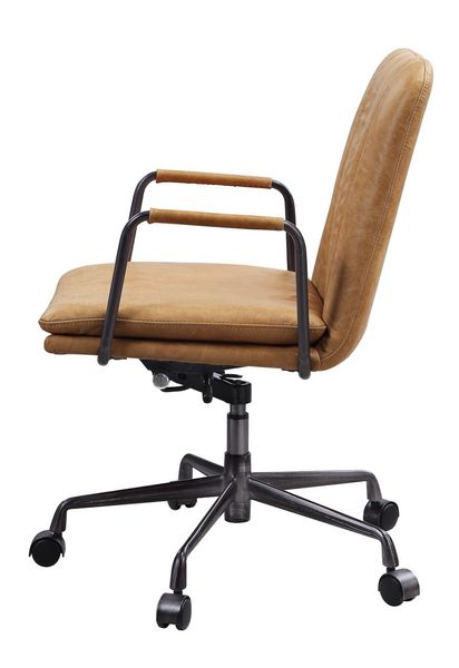 Eclarn Rum Top Grain Leather Swivel Office Chair by Acme
