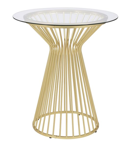 Electra Clear Glass/Matte Brass Metal Bar Table by Coaster