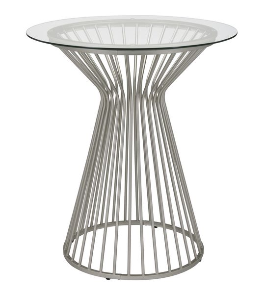 Electra Clear Glass/Satin Nickel Metal Bar Table by Coaster