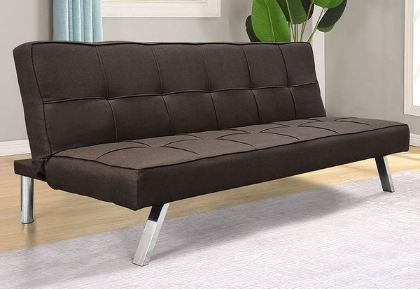 Elena Brown Linen Tufted Sofa Bed by Asia Direct