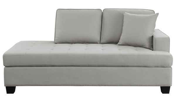 Elmont Khaki Textured Fabric Chaise by Homelegance