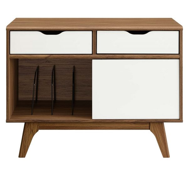 Envision Walnut Wood 2-Drawer Vinyl Record Display Stand by Modway