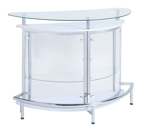 Ermenegilda Contemporary Clear Acrylic/White Wood Bar Unit by Coaster