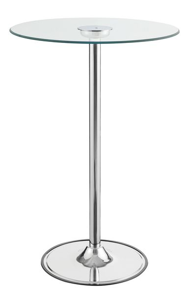 Ratna Clear Glass/Chrome Metal Round LED Bar Table by Coaster