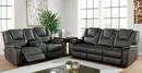 Ffion Gray Leatherette Power Recliner Loveseat by Furniture of America