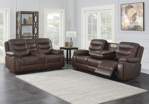 Flamenco 2-Pc Brown Leatherette Power Recliner Sofa Set by Coaster