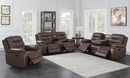 Flamenco 3-Pc Brown Leatherette Manual Recliner Sofa Set by Coaster