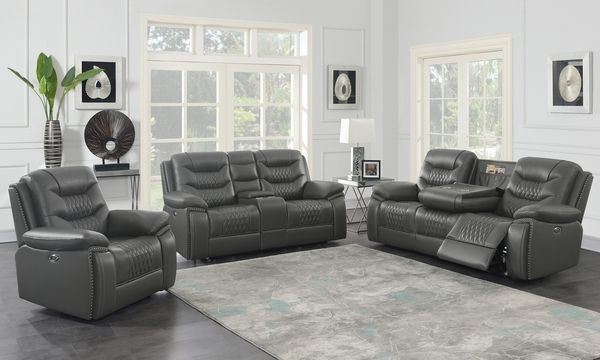 Flamenco 3-Pc Charcoal Leatherette Power Recliner Sofa Set by Coaster