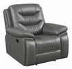 Flamenco Charcoal Leatherette Manual Recliner by Coaster