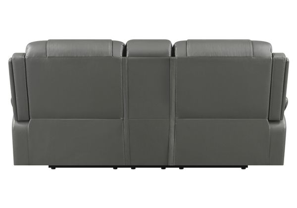 Flamenco Charcoal Leatherette Manual Recliner Loveseat by Coaster