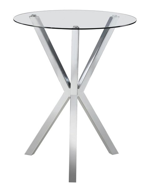 Gilda Clear Glass/Chrome Metal Round Bar Table by Coaster
