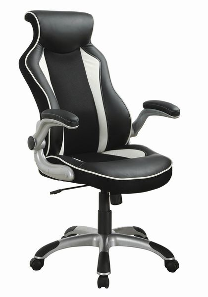 Giovannetta Black/White Leatherette Adjustable Office Chair by Coaster