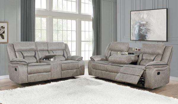 Greer 2-Pc Taupe Manual Recliner Sofa Set by Coaster