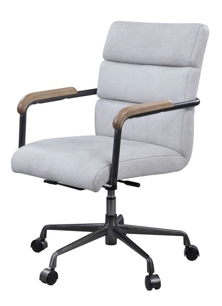 Halcyon Vintage White Top Grain Leather Office Chair by Acme