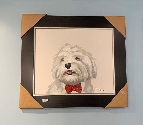 Hand-Painted Dog in Bow Tie Painting by Sisko Art