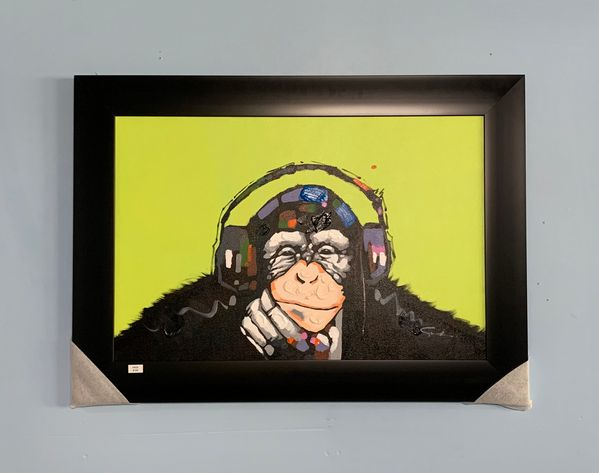 Hand-Painted Monkey with Headphones Painting by Sisko Art