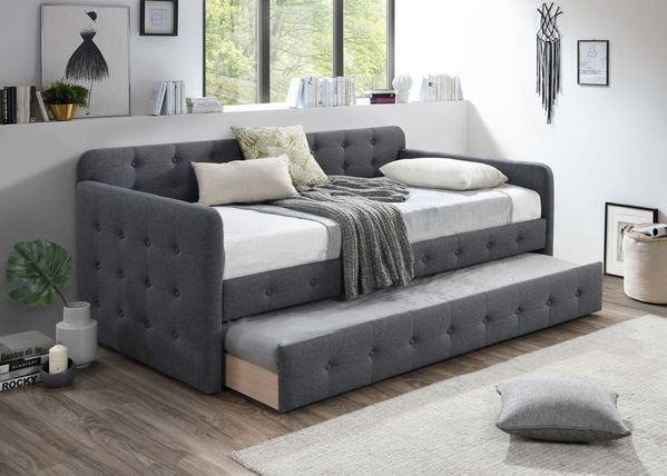 Haven Contemporary Grey Fabric Twin Daybed with Trundle by Crown Mark