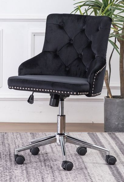 Hodiyah Black Velvet Fabric Office Chair by Best Quality Furniture
