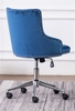 Hodiyah Blue Velvet Fabric Office Chair by Best Quality Furniture