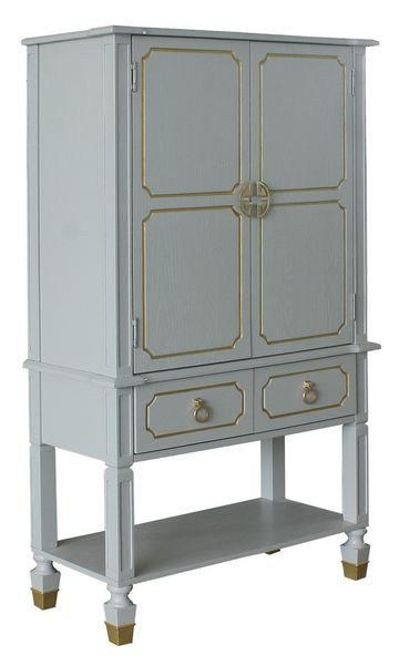 House Marchese Pearl Gray Wood Cabinet with Gold Trim Accent by Acme