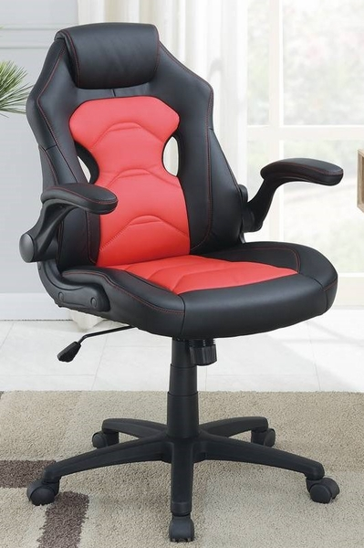 Hunter Black & Red Faux Leather Gaming Chair by Poundex
