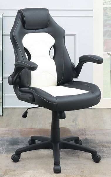 Hunter Black & White Faux Leather Gaming Chair by Poundex
