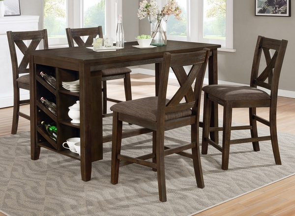 Irma Brown Wood Counter Height Table w/Storage by Milton Greens Stars