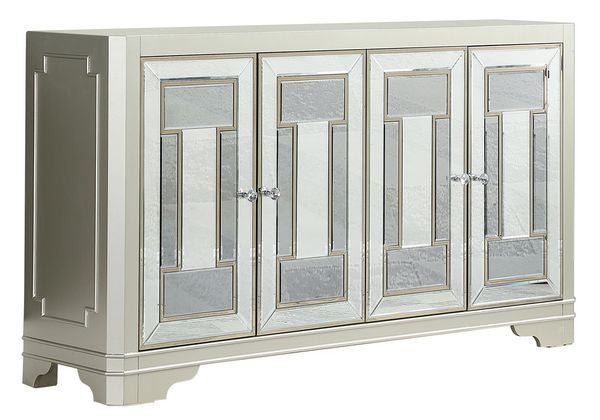 Jaquetta Champagne Wood Accent Cabinet with Mirrored Doors by Coaster
