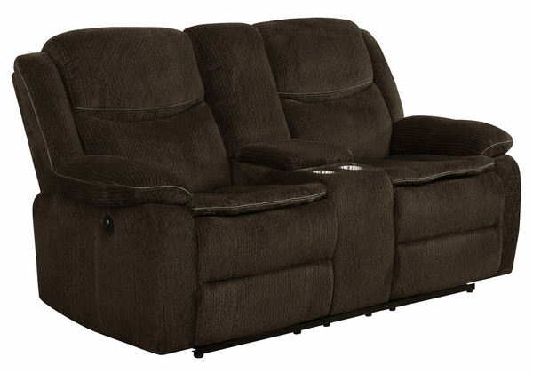 Jennings 2-Pc Brown Chenille Power Recliner Sofa Set by Coaster