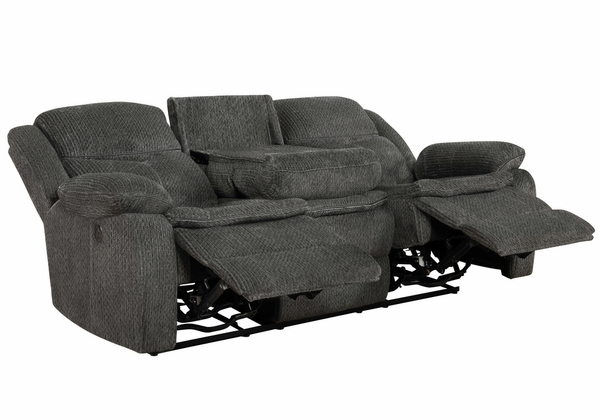 Jennings 2-Pc Charcoal Chenille Power Recliner Sofa Set by Coaster