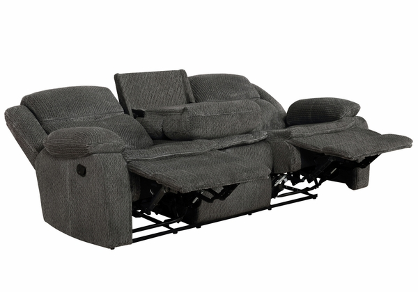 Jennings 3-Pc Charcoal Chenille Manual Recliner Sofa Set by Coaster