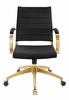 Jive Black Velvet/Gold Metal Mid Back Office Chair with Arm by Modway