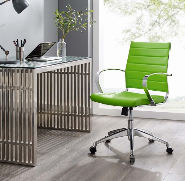 Jive Bright Green PU Leather Mid Back Office Chair by Modway
