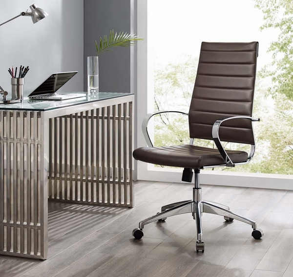 Jive Brown PU Leather Highback Office Chair by Modway