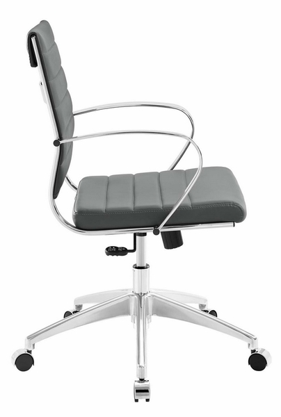 Jive Gray PU Leather Mid Back Office Chair by Modway