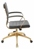Jive Gray Velvet/Gold Metal Mid Back Office Chair with Arm by Modway