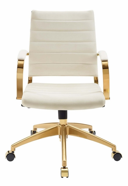Jive Ivory Velvet/Gold Metal Mid Back Office Chair with Arm by Modway