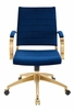 Jive Navy Velvet/Gold Metal Mid Back Office Chair with Arm by Modway